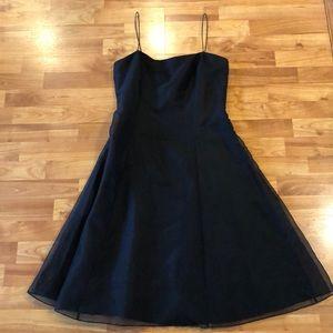 Ann Taylor elegant black cocktail dress 100% silk